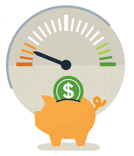 Illustration of a piggy bank with a running on empty gauge above it