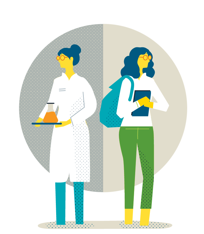 Illustration of a scientist carrying a beaker and a student carrying a book bag.
